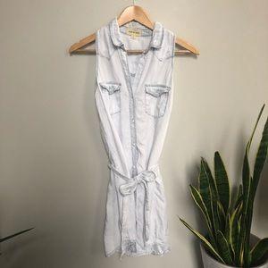 Cloth Stone Chambray Shirt Dress Tie Waist